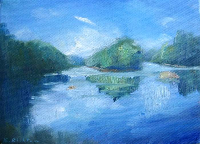 """Chattahoochee River, Summer"" original fine art by Keiko Richter"