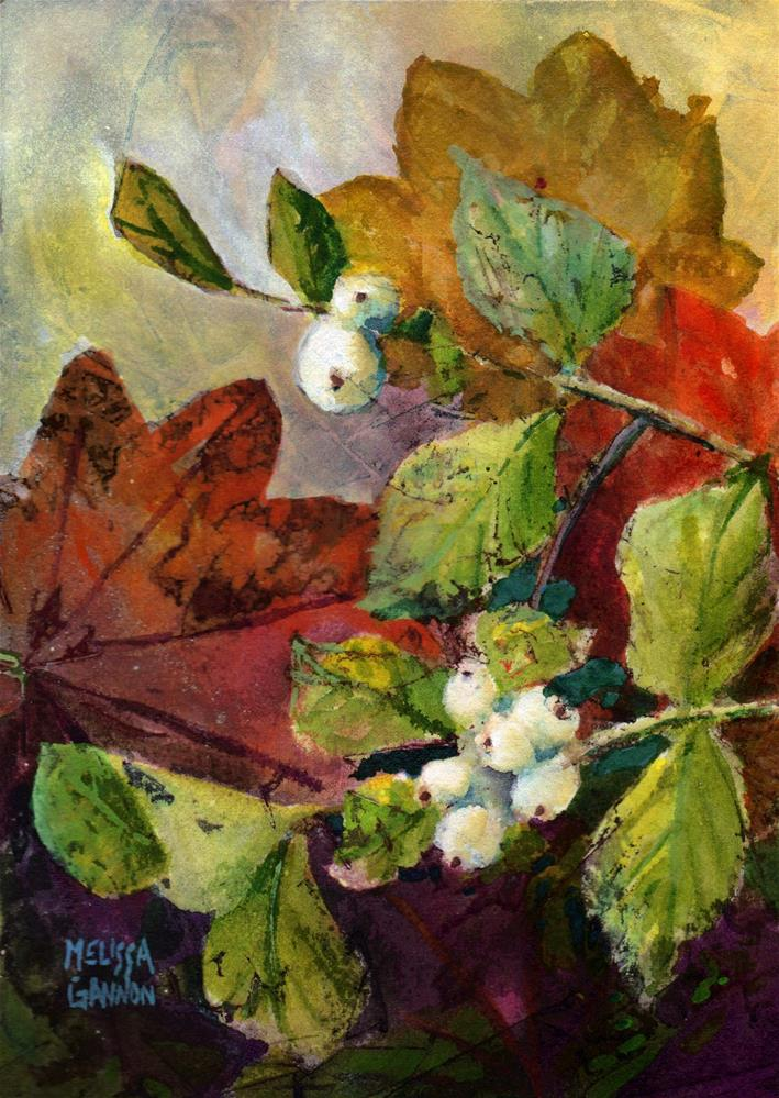 """Snowberries & Maple Leaves"" original fine art by Melissa Gannon"
