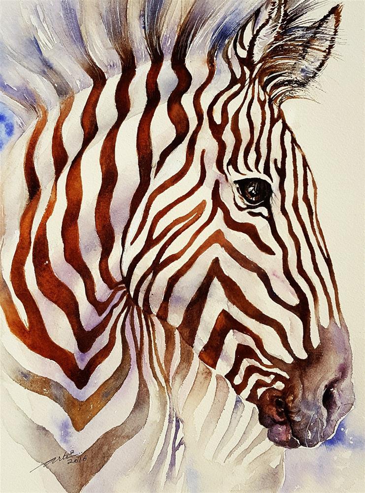 """Umber Stripes Zebra"" original fine art by Arti Chauhan"