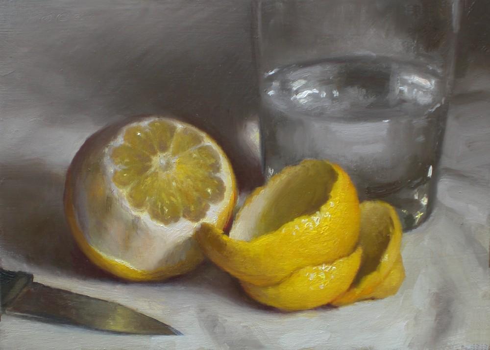 """Lemon with Water"" original fine art by Debra Becks Cooper"