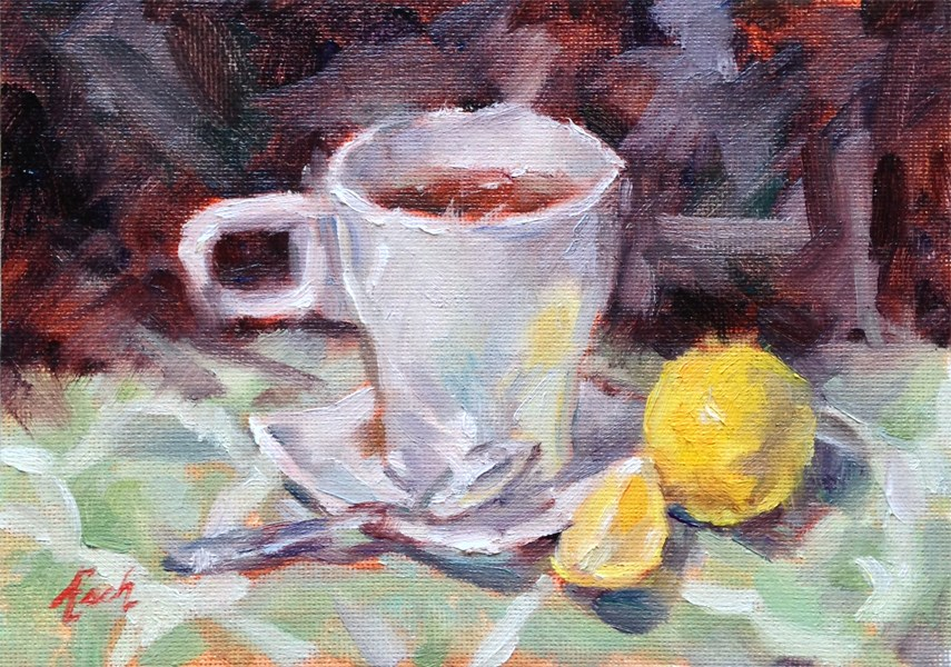"""Tea and Lemon"" original fine art by Audra Esch"