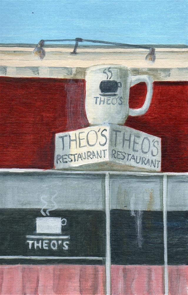 """Theo's"" original fine art by Debbie Shirley"