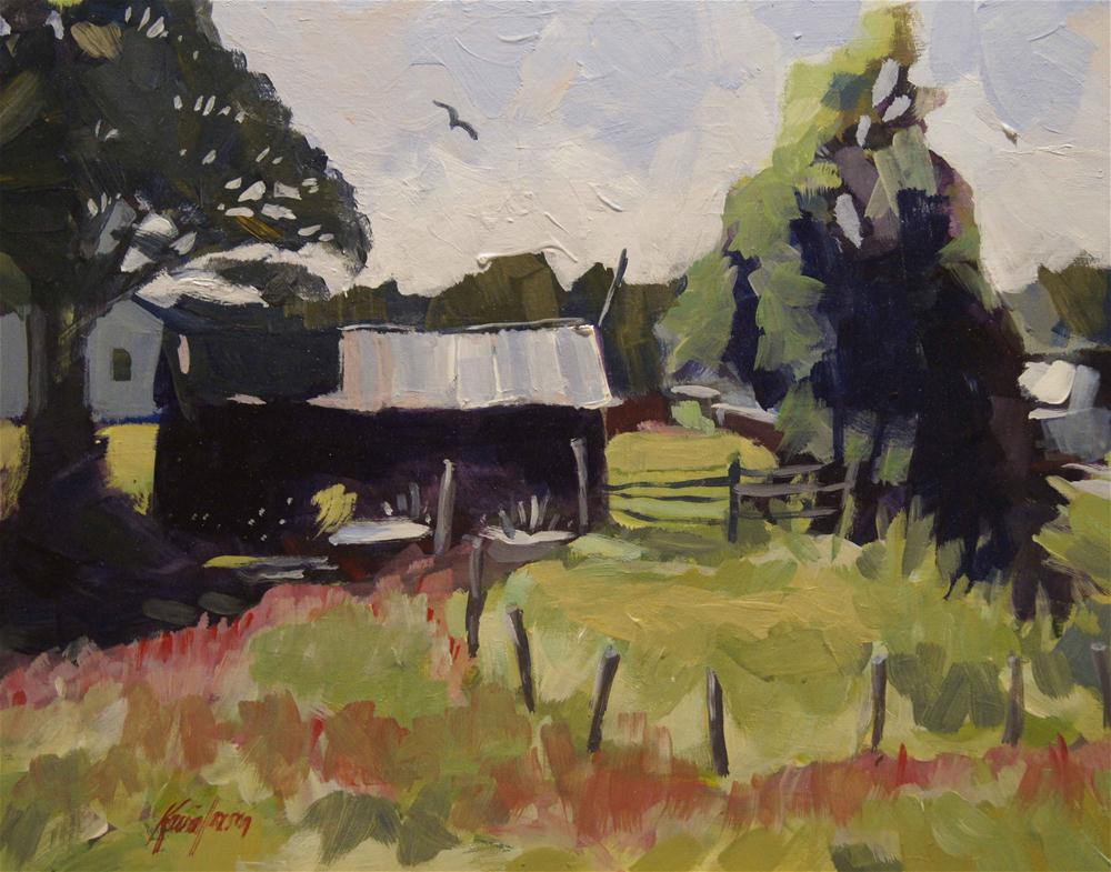 """Pump House in Spring"" original fine art by Kevin Larson"