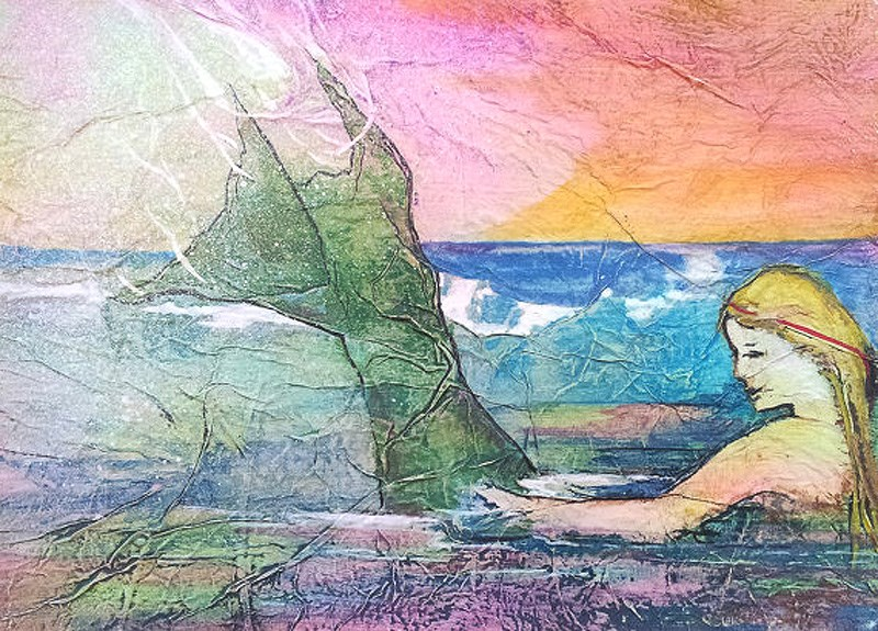 """Zen Inspired Mermaid Watercolor on Tissue"" original fine art by lynne french"