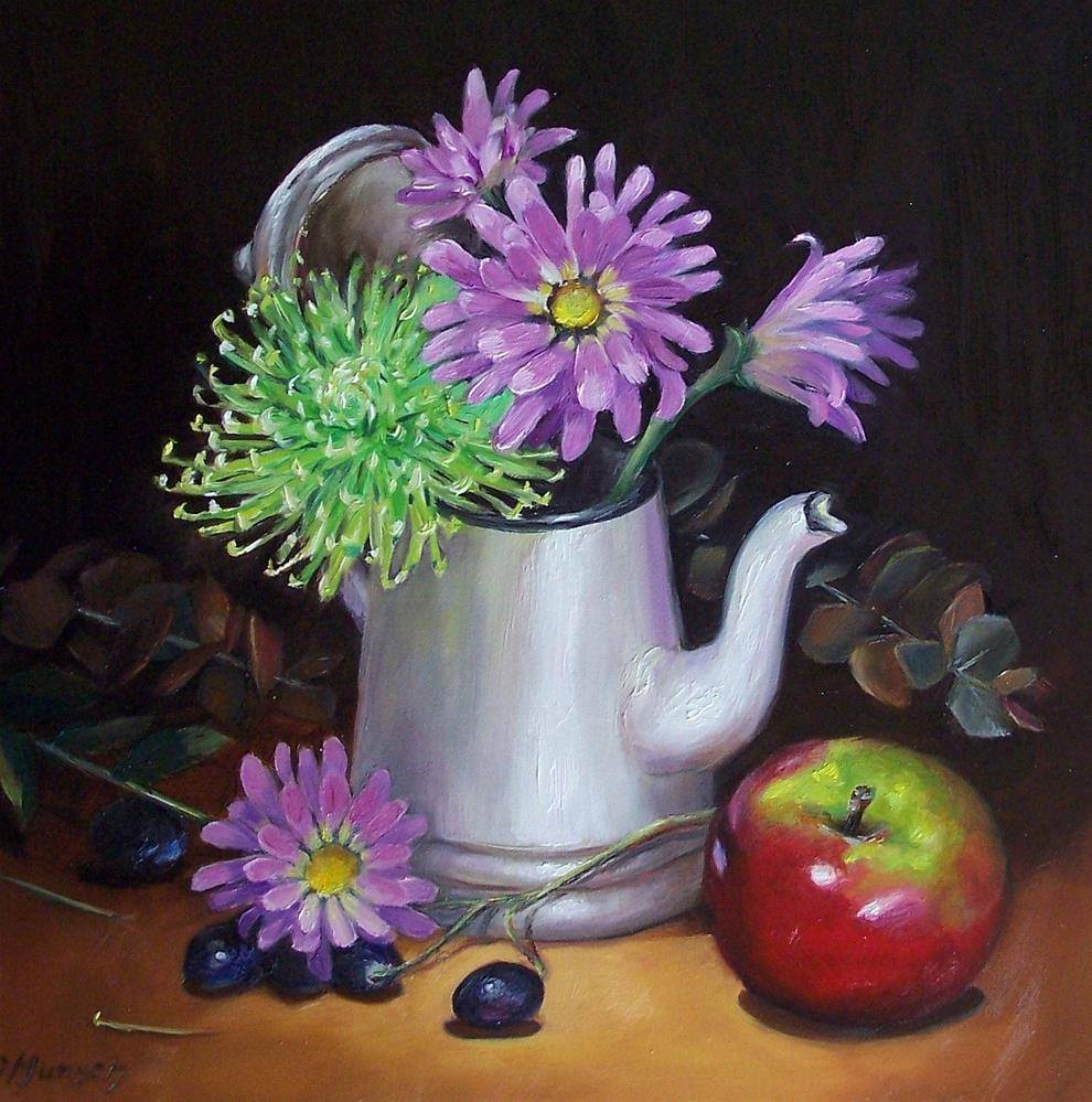 """Purple Daisies in Coffee Pot"" original fine art by Donna Munsch"