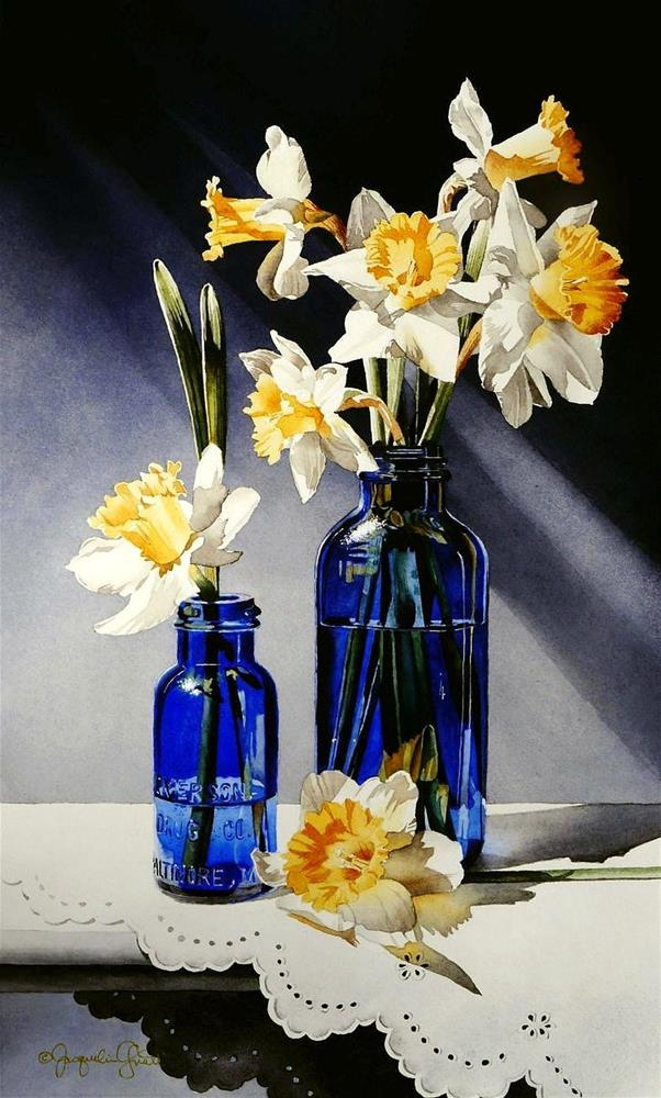 """Still Life with Cobalt Glass"" original fine art by Jacqueline Gnott, TWSA, WHS"