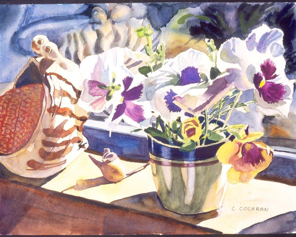 """Pansies & scrubbie"" original fine art by Carol Cochran"