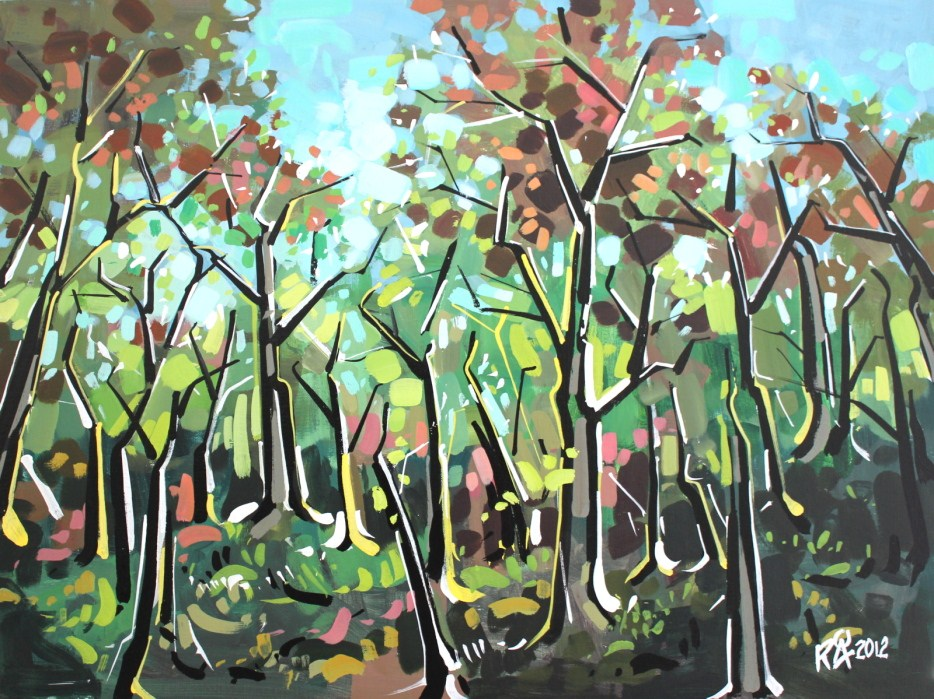 """In the forest 6"" original fine art by Roger Akesson"