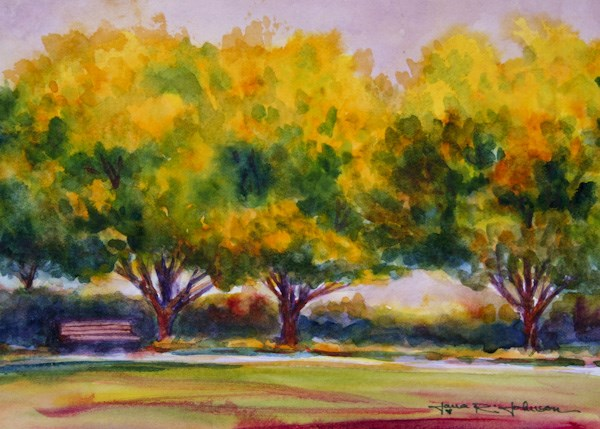 """Yellow Trees"" original fine art by Jana Johnson"