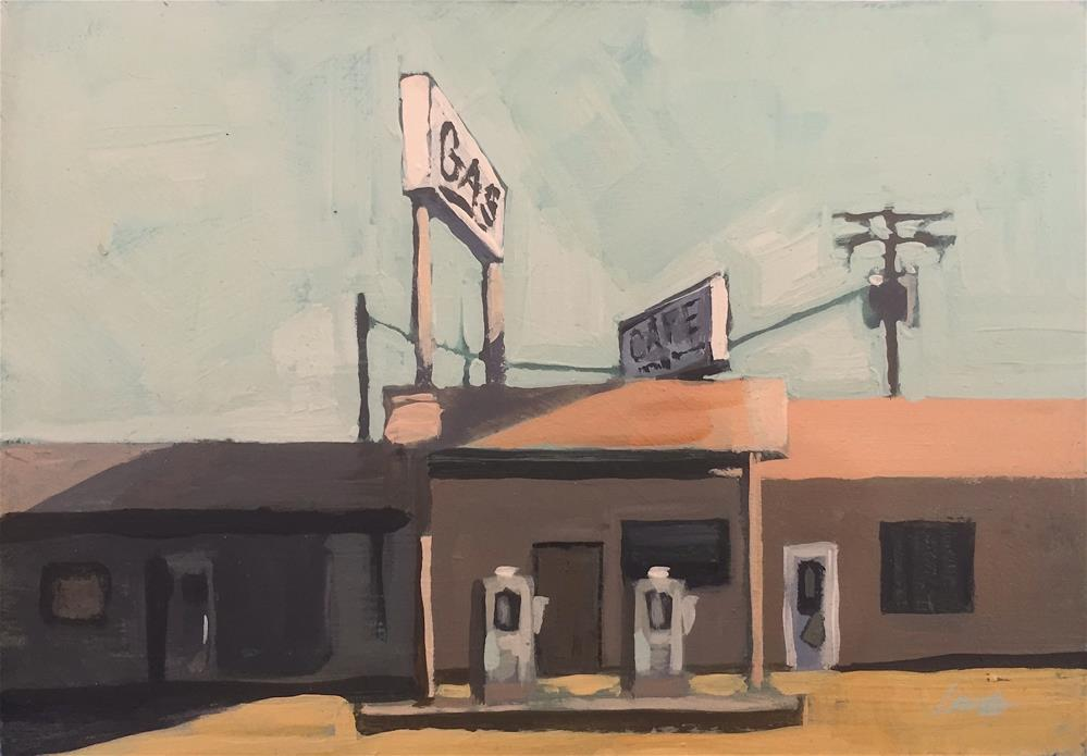 """Gas Station, Desert"" original fine art by Chris Long"