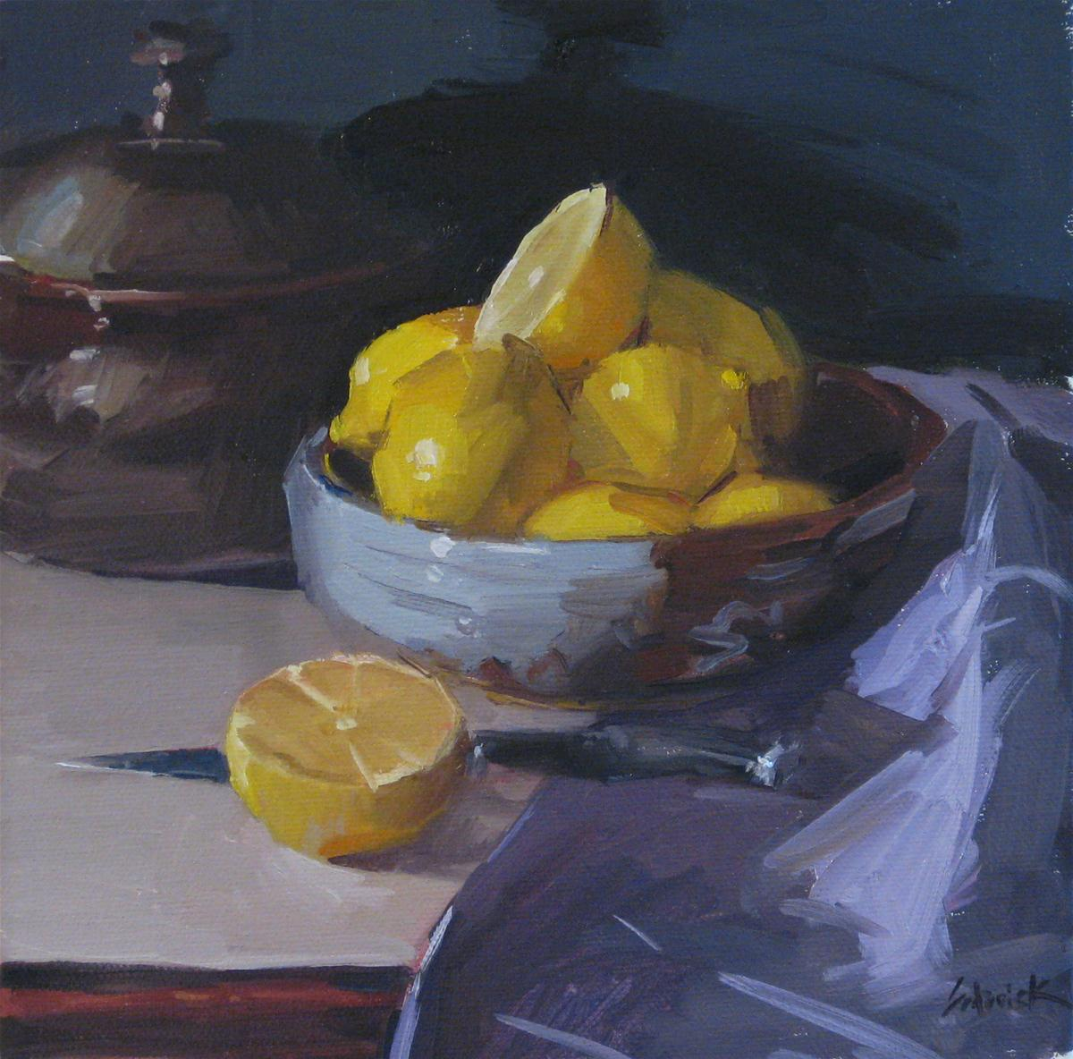 """Lemon Bowl with Knife - Framed"" original fine art by Sarah Sedwick"