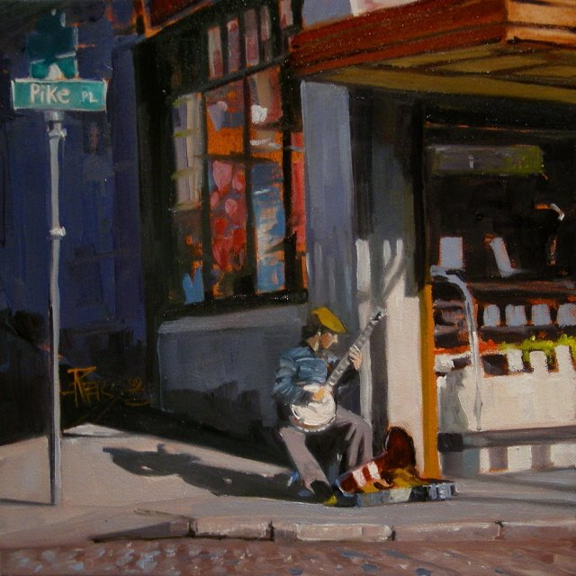 """The Banjo Player Seattle city scenes, oil painting"" original fine art by Robin Weiss"