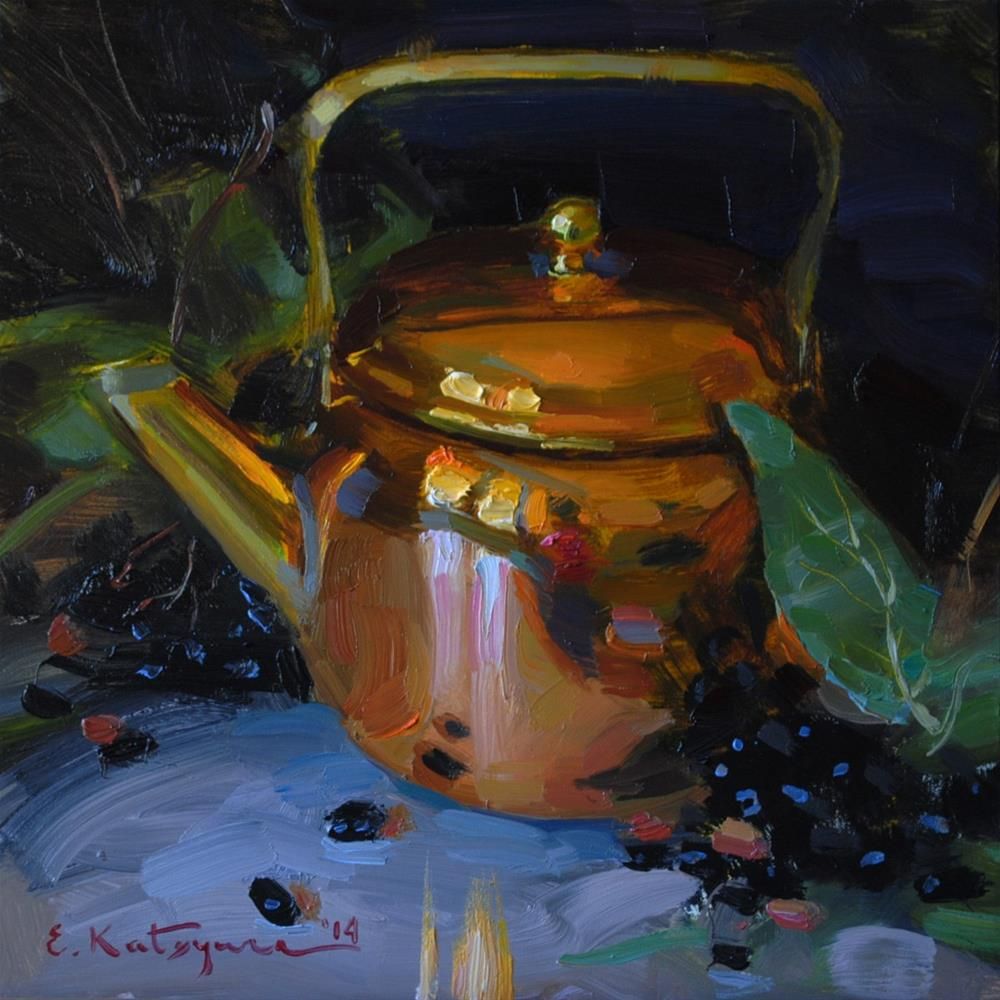 """Copper Teapot"" original fine art by Elena Katsyura"