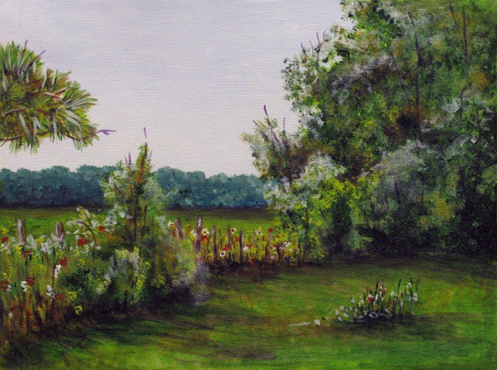 """Along the Fence"" original fine art by Nan Johnson"
