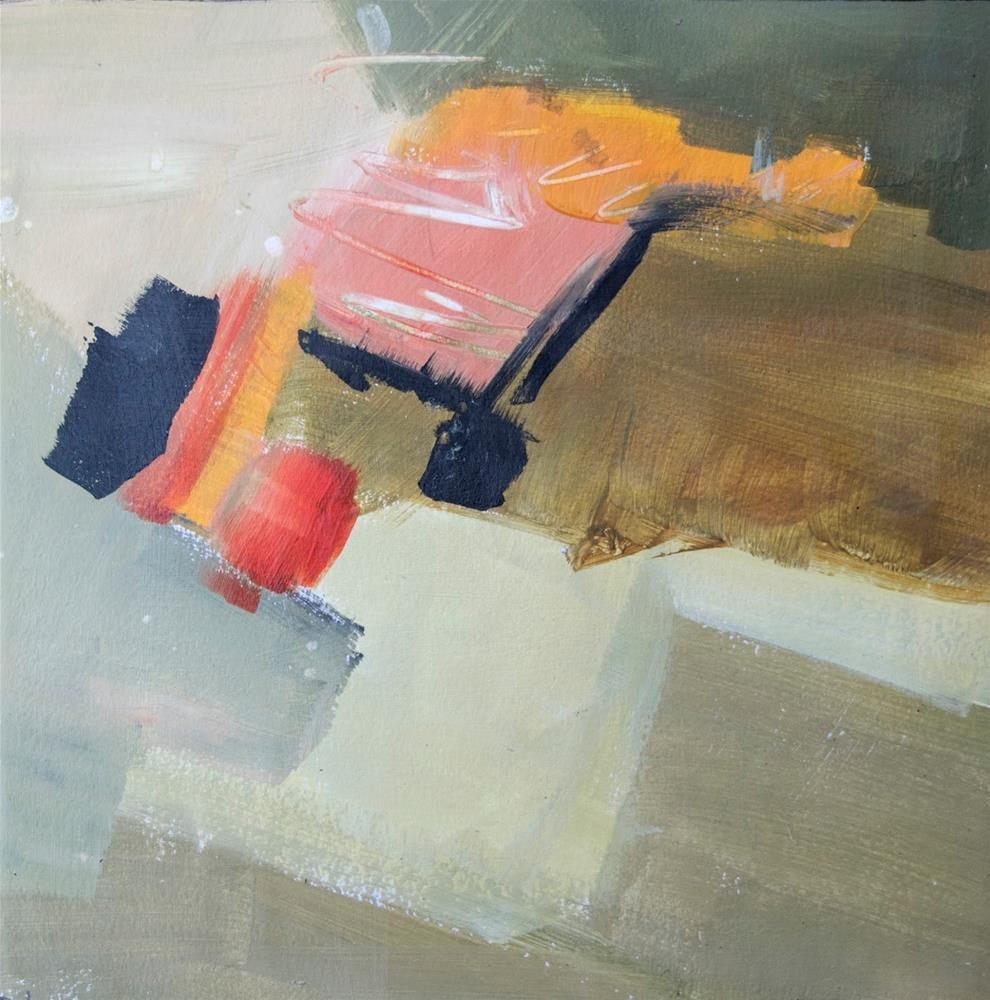 """KMA3065 The Beginning by Colorado artist Kit Hevron Mahoney (8x8 acrylic, abstract art, conceptual)"" original fine art by Kit Hevron Mahoney"