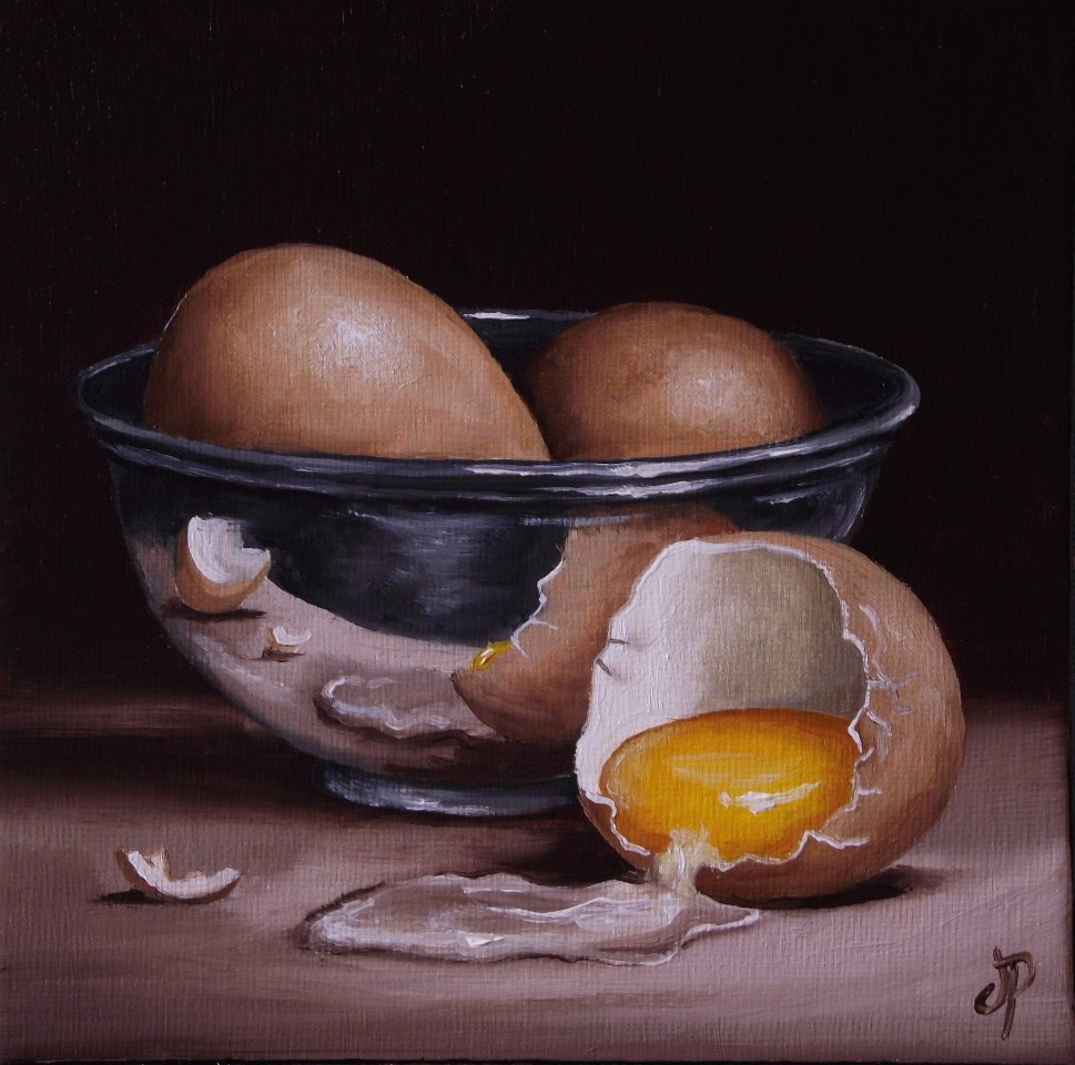 """Eggs in Silver"" original fine art by Jane Palmer"