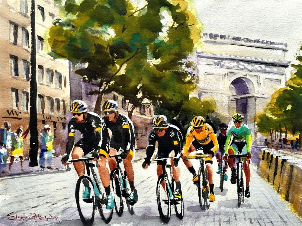 """Stage 21: Froome and Sagan"" original fine art by Shirley Peters"