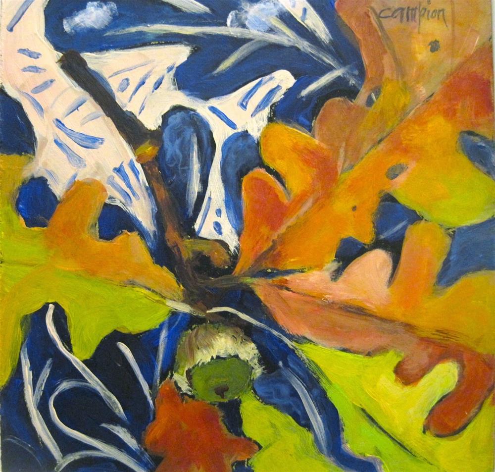 """471 Green Acorn"" original fine art by Diane Campion"