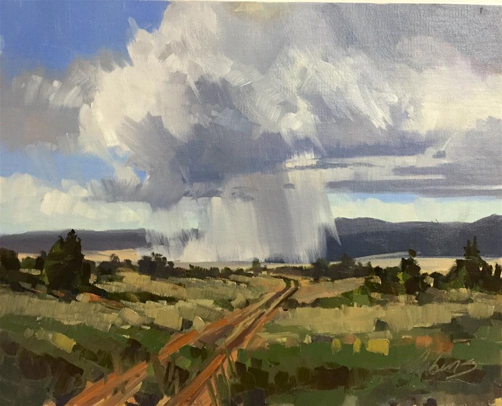 """Storms on the road to Nowhere"" original fine art by Mary Jabens"