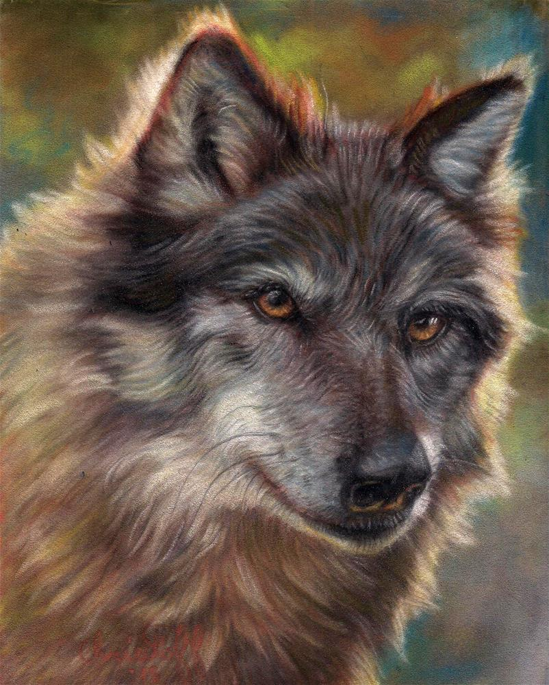 """Wolf Smile"" original fine art by emily Christoff-Flowers"