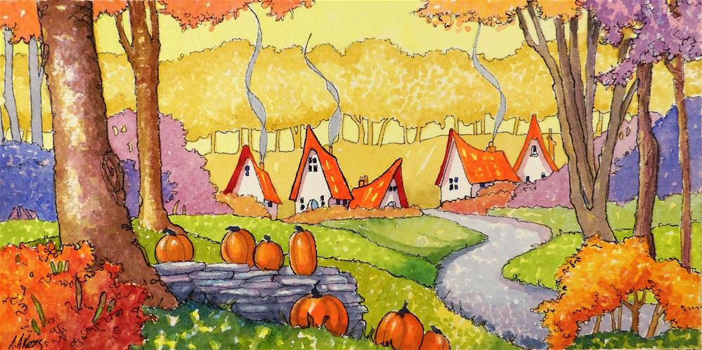 """Welcome an October Morning Storybook Cottage Series"" original fine art by Alida Akers"