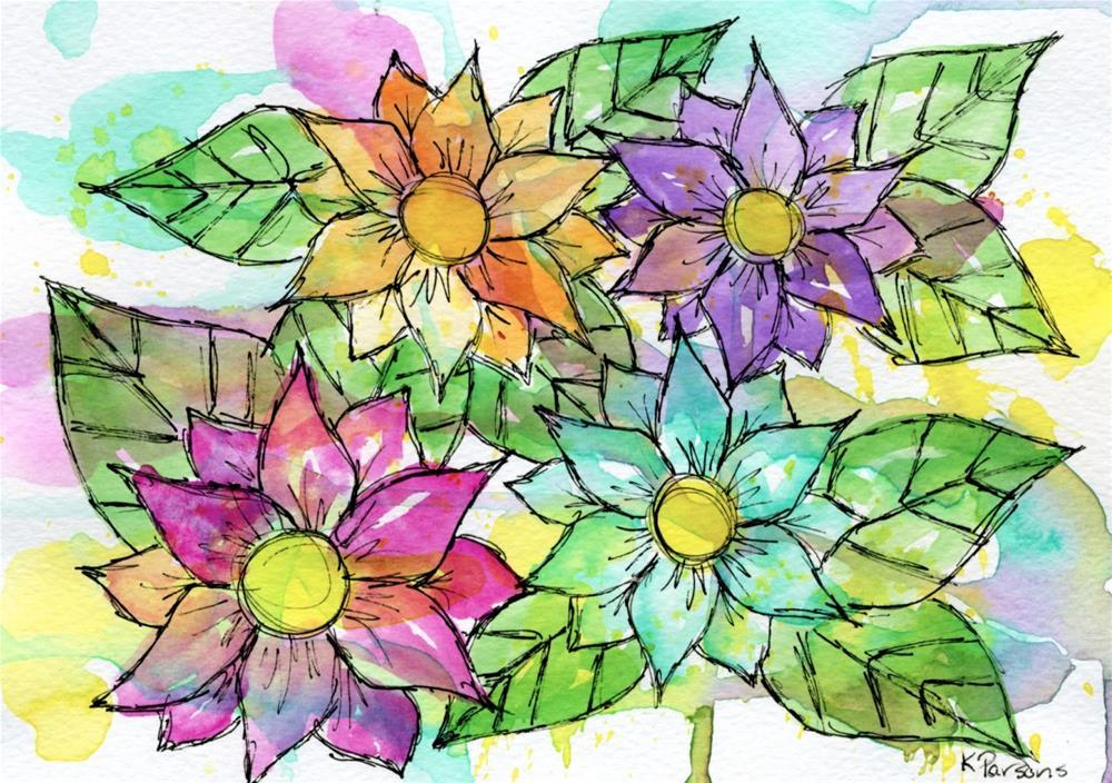 """A Rainbow of Flowers"" original fine art by Kali Parsons"