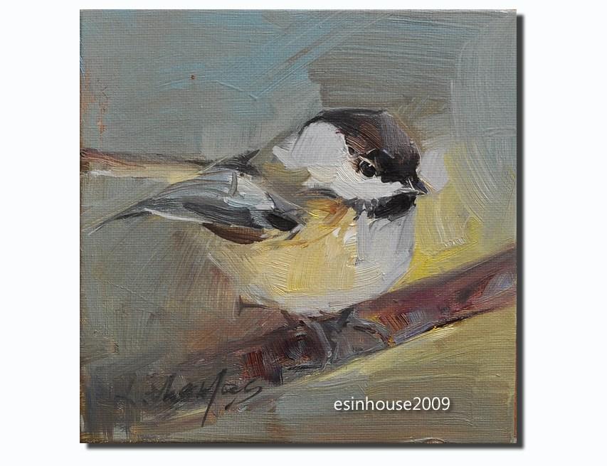 """6X6 Original Oil Painting Chickadee Bird Art Pictures Robin wildlife paint"" original fine art by Thomas Xie"