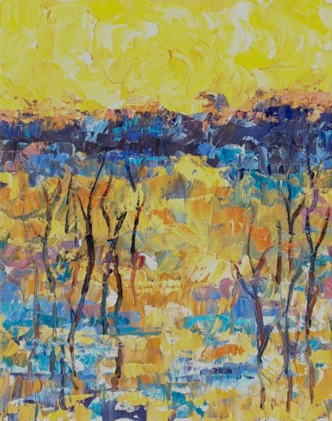 """Palette Knife Aspen Tree Colorado Landscape Painting Along The South Platte II by Colorado Impress"" original fine art by Judith Babcock"
