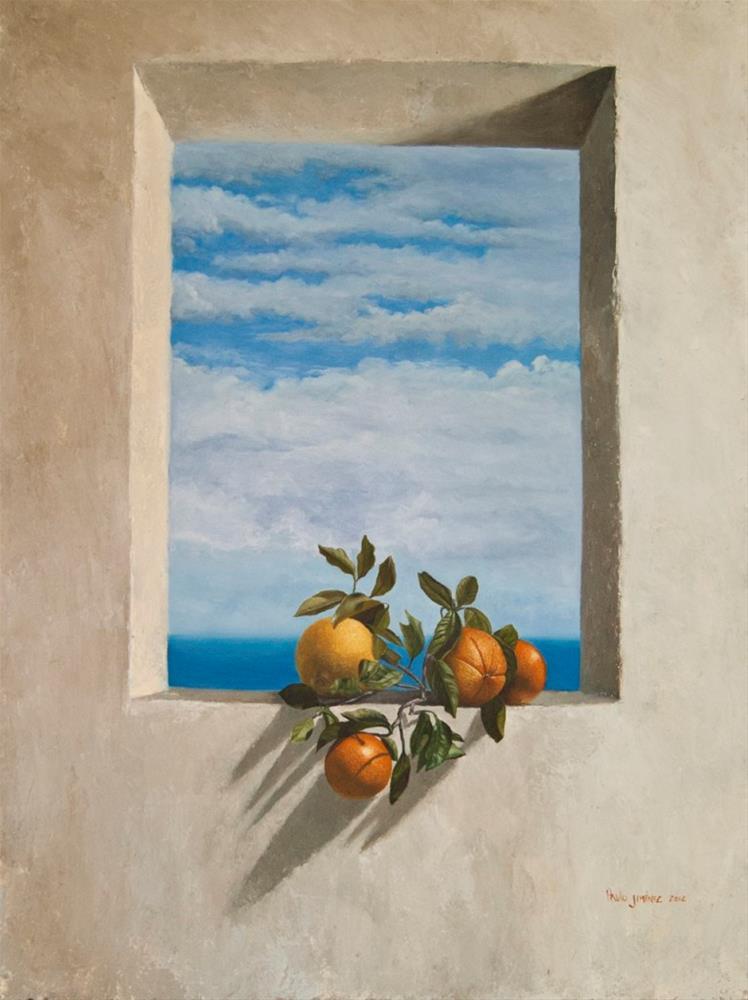 """""""Oranges on a window sill – Summer Bliss"""" original fine art by Paulo Jimenez"""