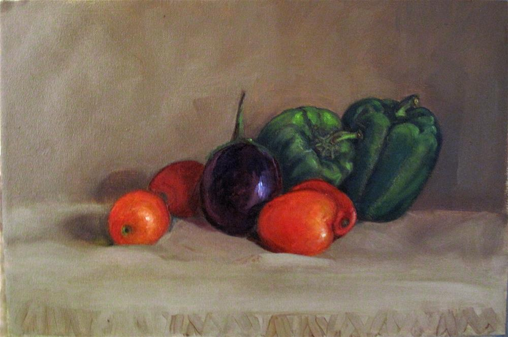 """""""Still life with capsicum and tomatoes"""" original fine art by Asha Shenoy S"""