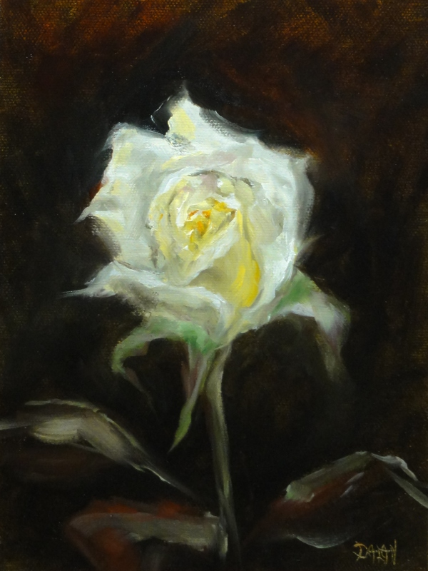 """SWR, Single White Rose"" original fine art by Dalan Wells"