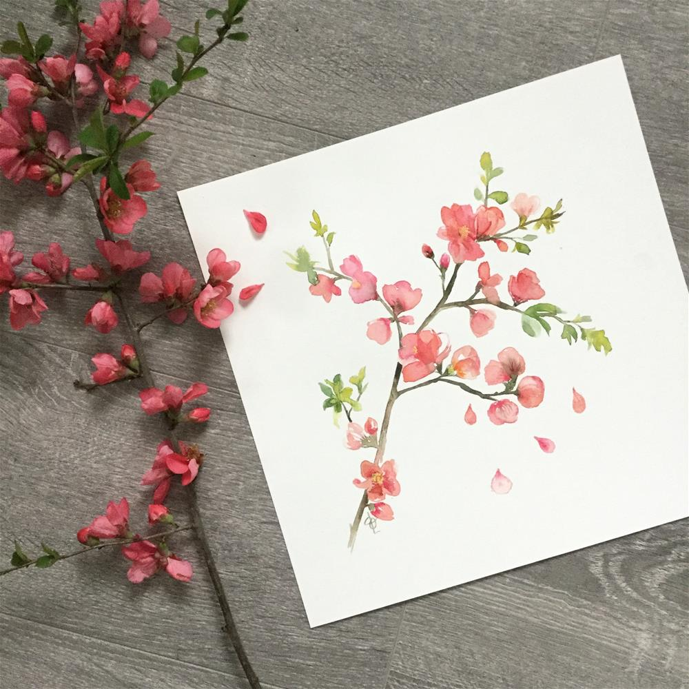 """Flowering Quince"" original fine art by Christy Obalek"
