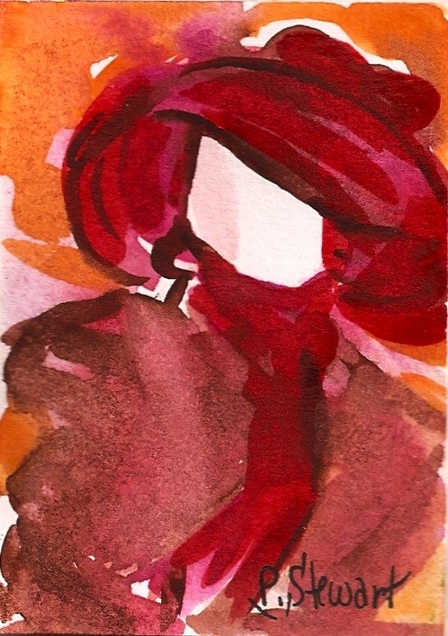 """""""ACEO Mannequin in a Red Hat"""" original fine art by Penny Lee StewArt"""