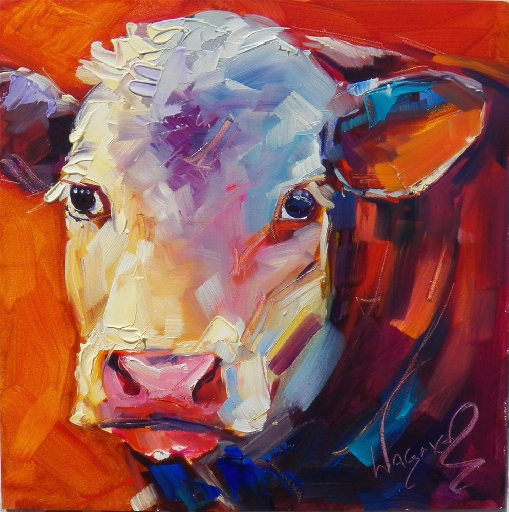 """SOLD - ALL ABOUT COLOR - CONTEMPORARY COW by OLGA WAGNER"" original fine art by Olga Wagner"