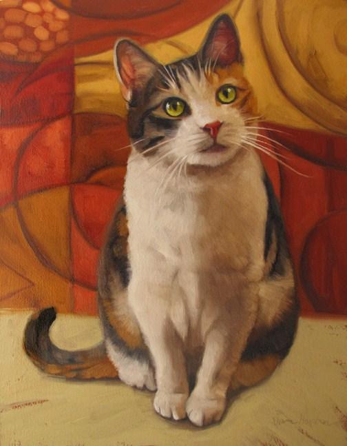 """Sugar cat portrait painting commission custom art"" original fine art by Diane Hoeptner"