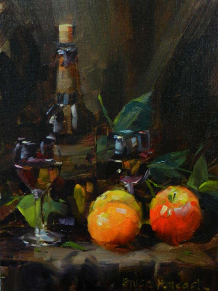 """Red Wine, Oranges and Apple"" original fine art by Bruce Hancock"