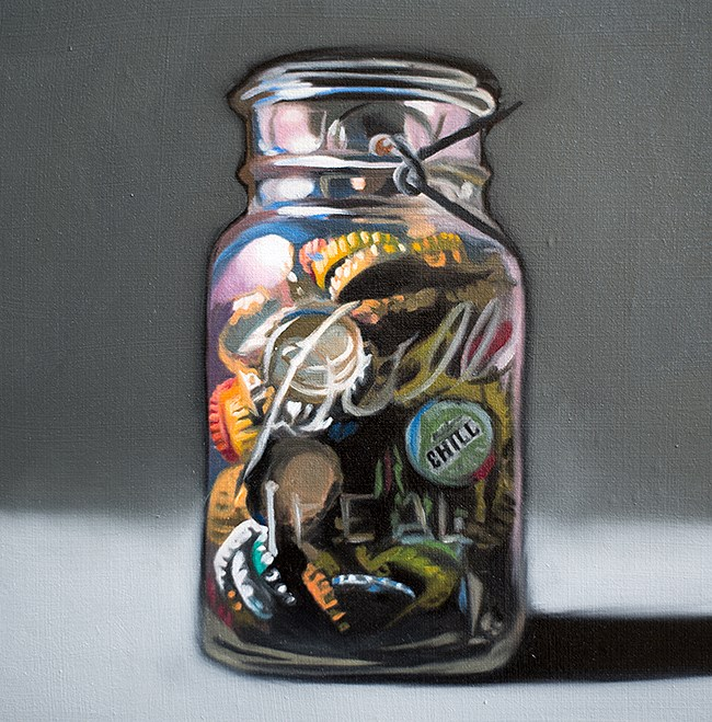 """Jar of Bottle Caps"" original fine art by Lauren Pretorius"