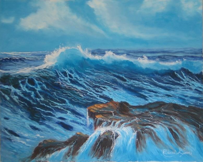 """Moving Against the Rocks"" original fine art by Richard St.Jean"