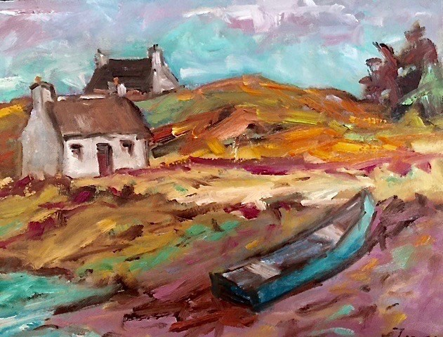 """Beached Boat, Isle of Skye"" original fine art by Liz Zornes"