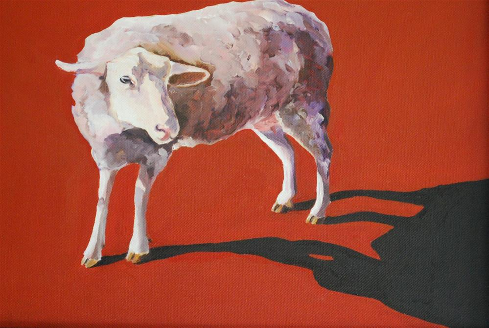"""Sheep casting shadow"" original fine art by Beverley Phillips"