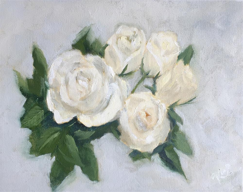 """White Roses with Gray Background "" original fine art by Kim Peterson"