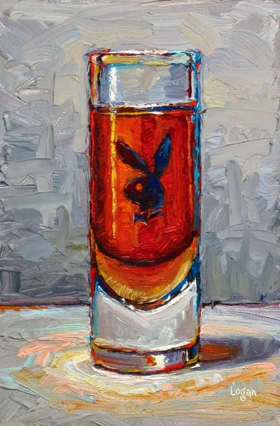 """Playboy Shot Glass"" original fine art by Raymond Logan"