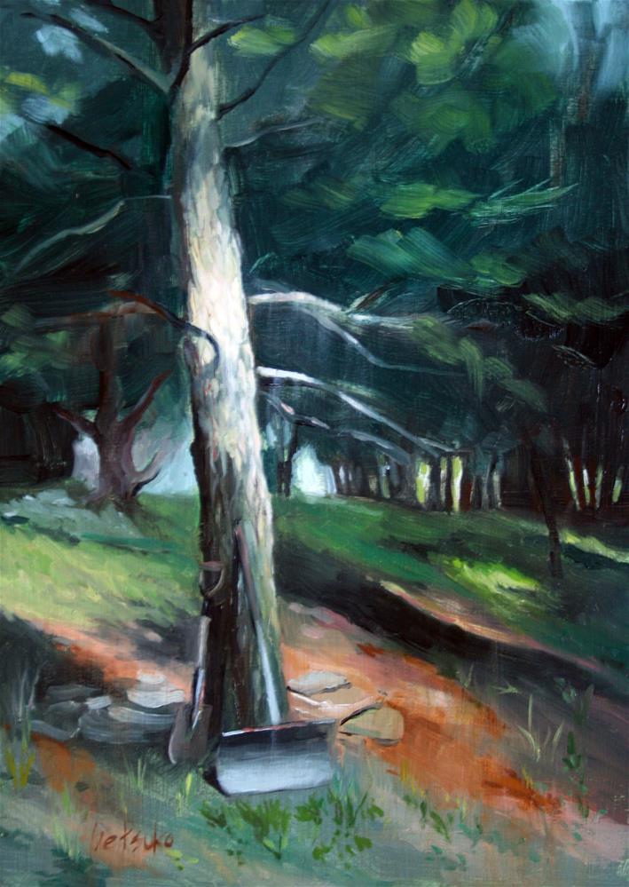 """Rip's Backyard"" original fine art by Setsuko Lawson"