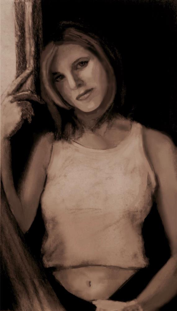 """Jennifer Aniston"" original fine art by Fred Medley"