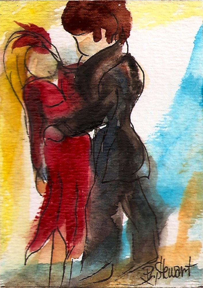 """ACEO Dance Contest, Couple #1, Tango"" original fine art by Penny Lee StewArt"