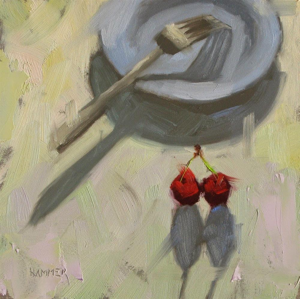 """Two cherries and a blue plate  6in x 6in  oil painting"" original fine art by Claudia Hammer"