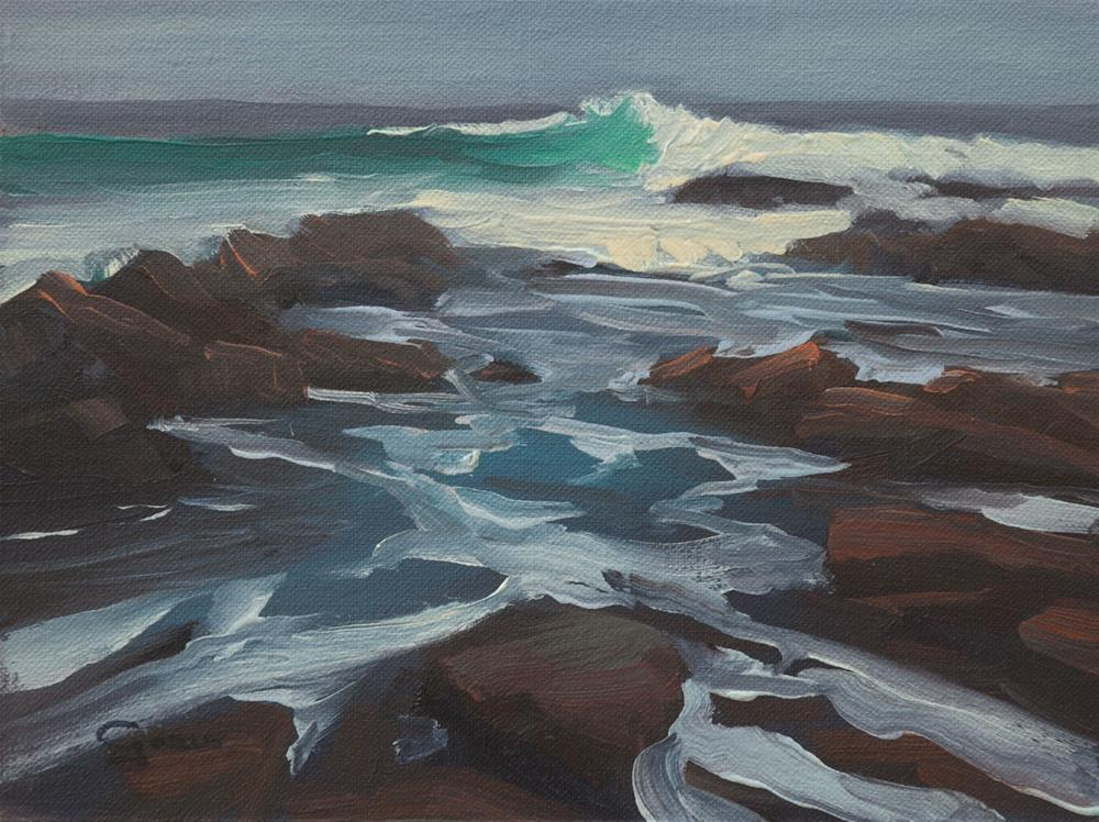 """Green Wave of Asilomar Beach 6x8"" original fine art by Pavel Gazur"