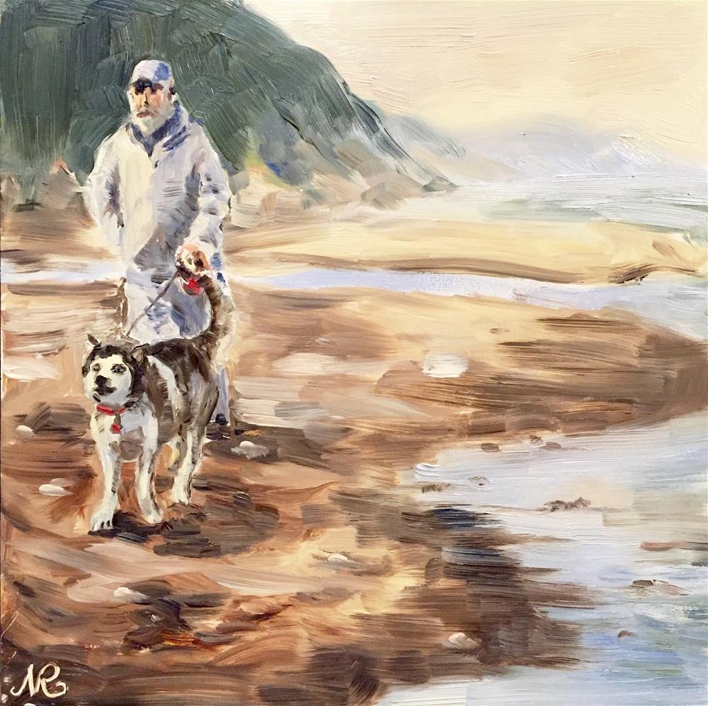 """A walk on the beach "" original fine art by Natasha Ramras"