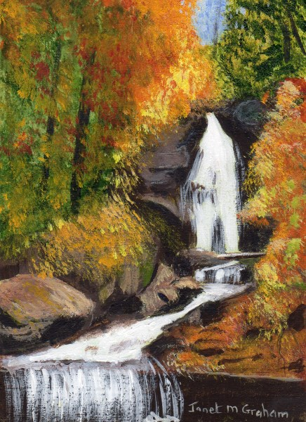 """Autumn Waterfall ACEO"" original fine art by Janet Graham"