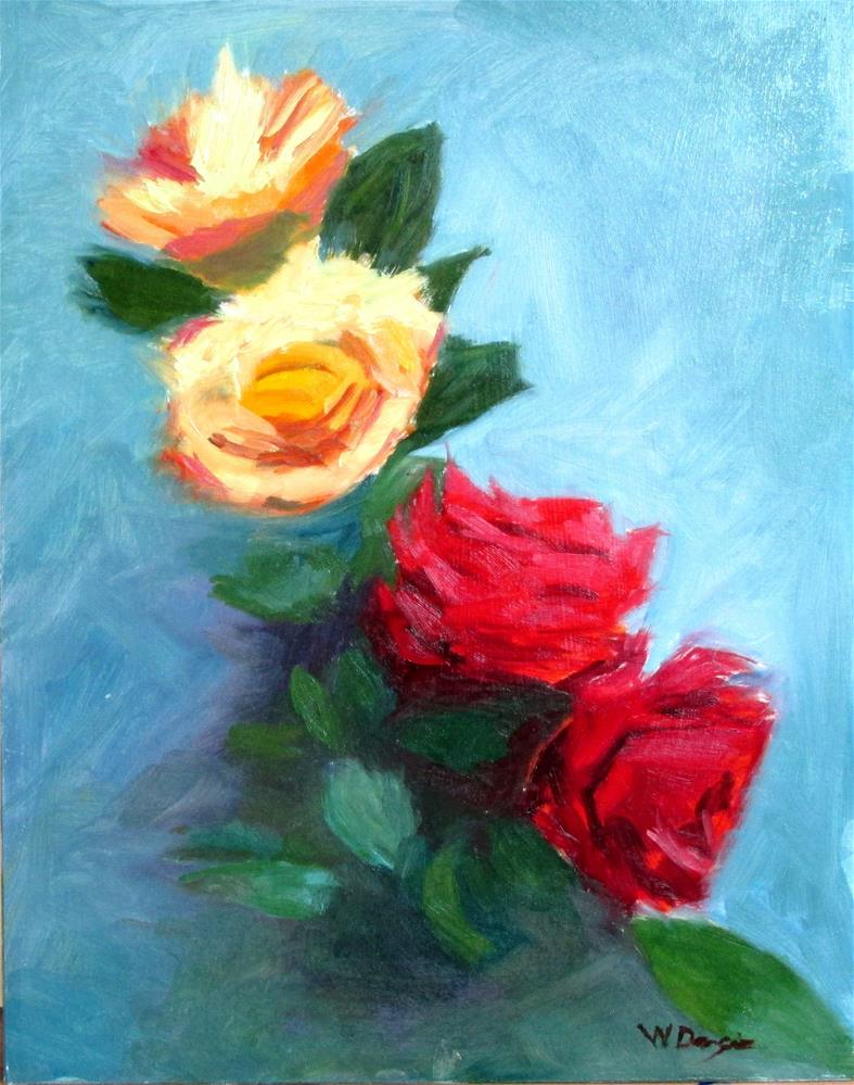 """Yellow and Red Roses"" original fine art by Will Dargie"